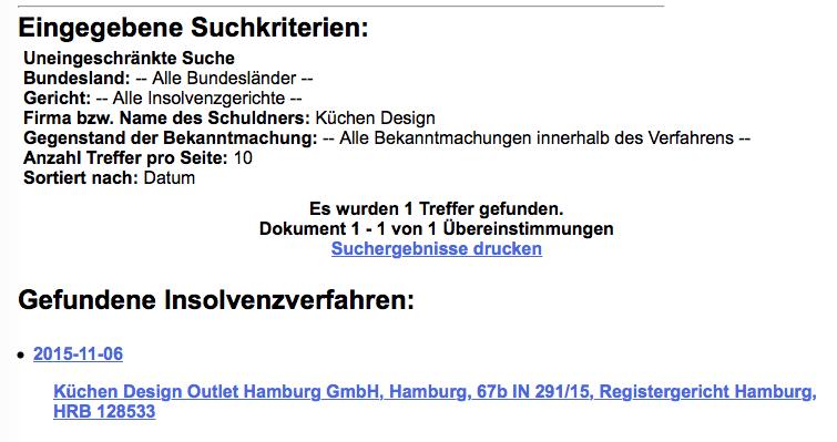 Küchen Design Outlet Hamburg GmbH Insolvenz
